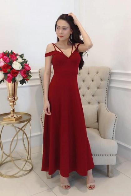 Chixxie Valeria Long Dress in Red