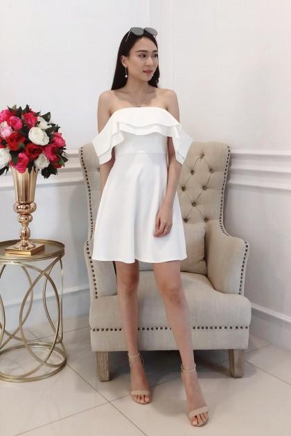 Chixxie Elena Off-Shoulder Dress in White