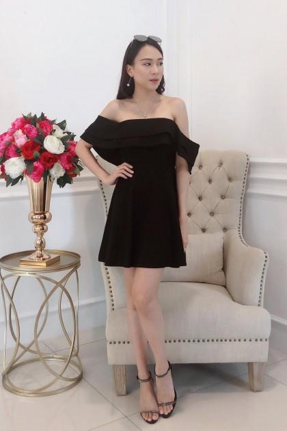 Chixxie Elena Off-Shoulder Dress in Black