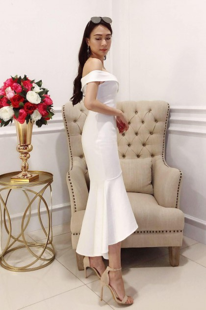 Chixxie Destiny Mermaid Midi Dress in White