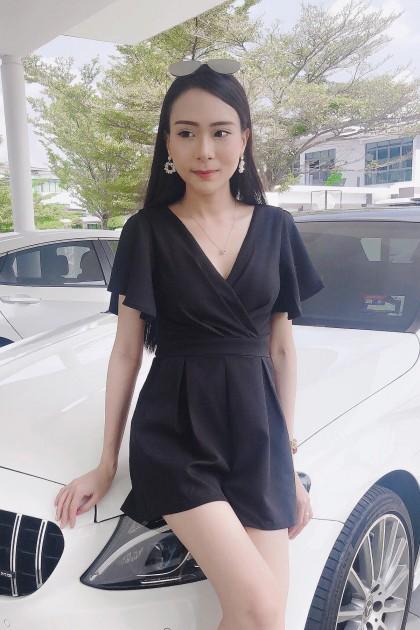 Chixxie Karen Playsuit in Black