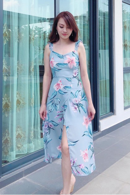 Chixxie Sasha Maxi Dress in Pastel Blue
