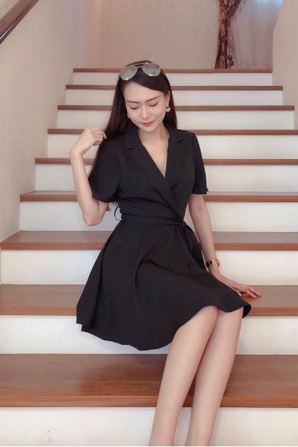 Chixxie Aubrie Wrap Dress in Black
