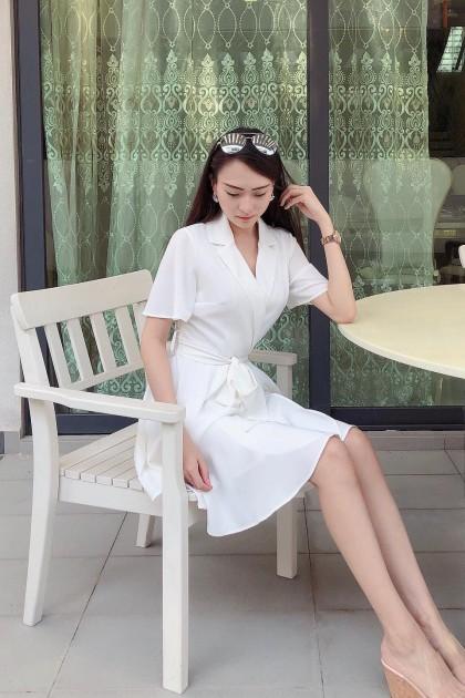 Chixxie Aubrie Wrap Dress in White