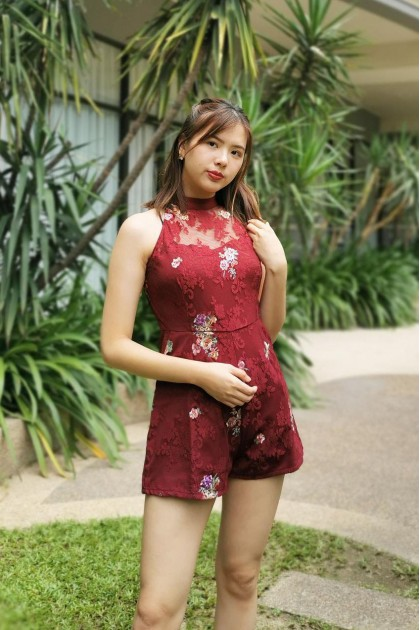 Chixxie Ceci Lace Playsuit in Red