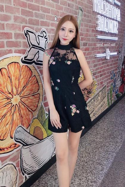 Chixxie Ceci Lace Playsuit in Black