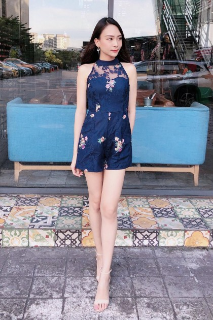 Chixxie Ceci Lace Playsuit in Navy
