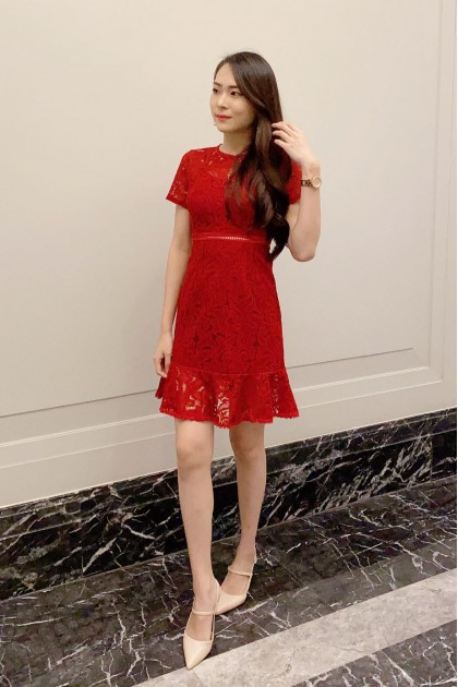 Chixxie Lisa Lace Dress in Red
