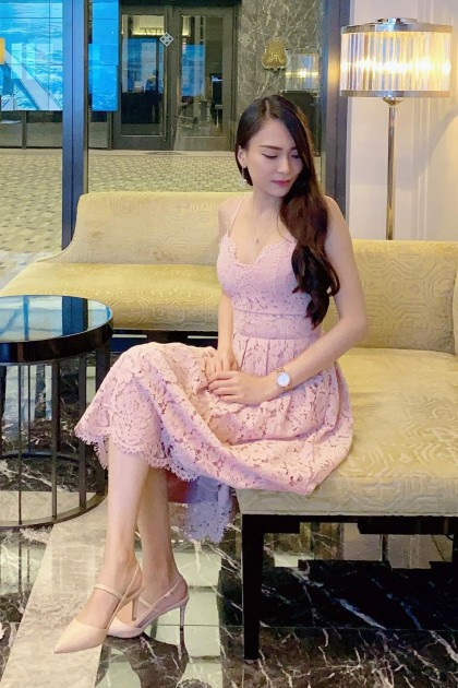 Chixxie Heather Midi Lace Dress in Pink