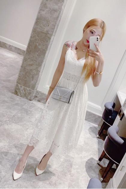 Chixxie Heather Midi Lace Dress in White