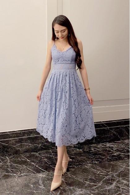 Chixxie Heather Midi Lace Dress in Pastel Blue