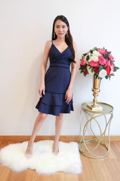Chixxie Becca Dress in Navy