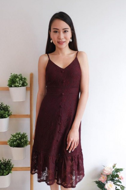 Chixxie Sherry Dress in Sangria
