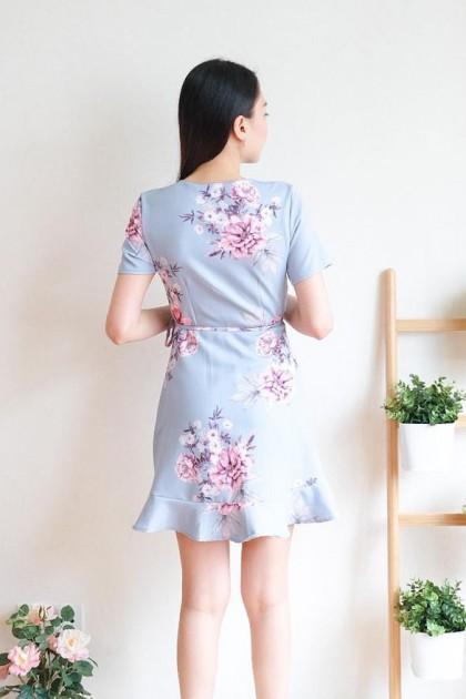 Chixxie Kelsey Wrap Dress in Pastel Blue