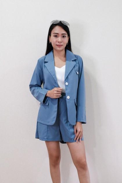 Chixxie Morgan Two-Piece Blazer Set in Blue