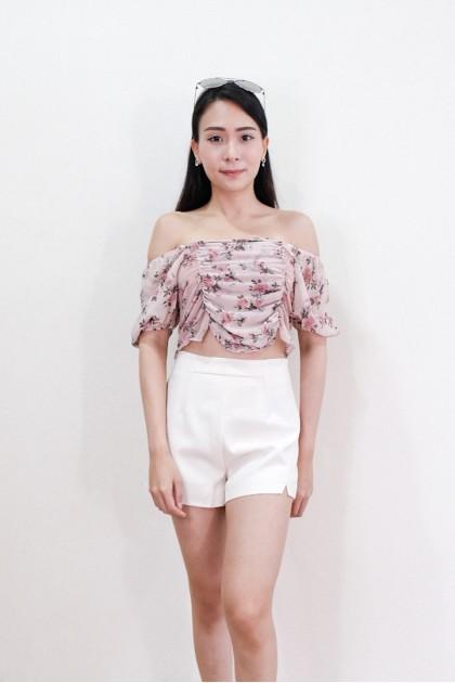 Chixxie Lara Off-Shoulder Top in Pink