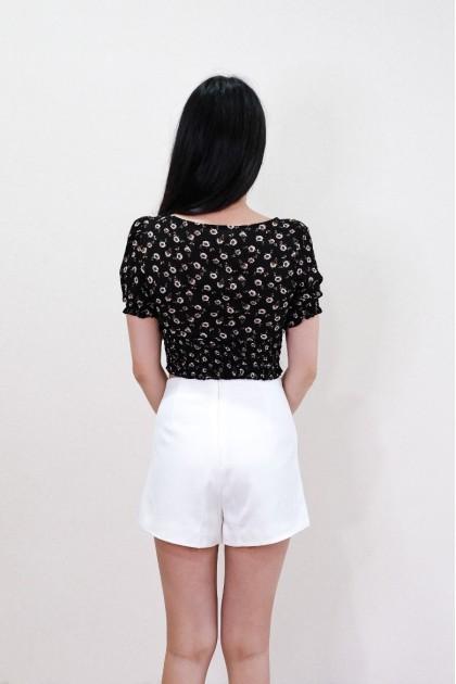 Chixxie Kiera Floral Crop Top in Black