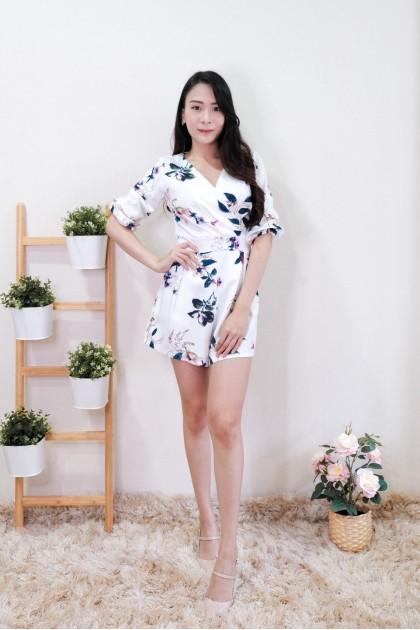 Chixxie Ellie Floral Playsuit in White