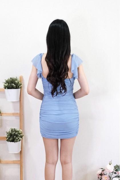 Chixxie Gisele Ruffle Strap Dress in Blue