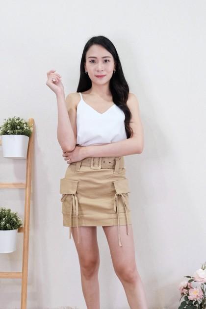 Chixxie Annie Paperbag Skirt in Khaki