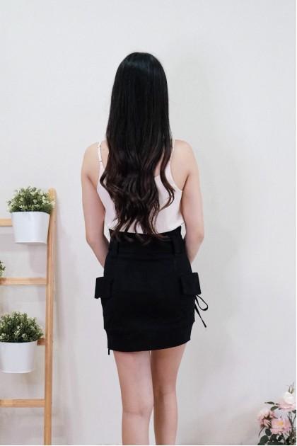 Chixxie Annie Paperbag Skirt in Black