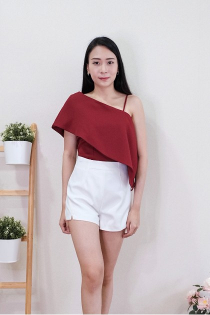 Chixxie Katelyn Toga Crop Top in Red
