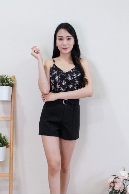 Chixxie Lindsey Floral Top in Black