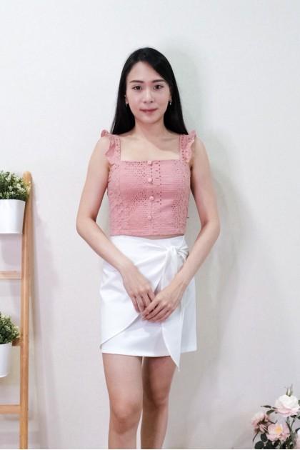 Chixxie Carmen Lace Ruffle Crop Top in Pink