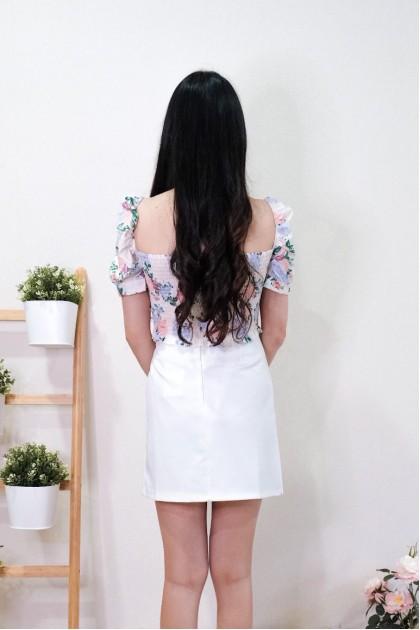 Chixxie Liliana Ribbon Short Skirt in White