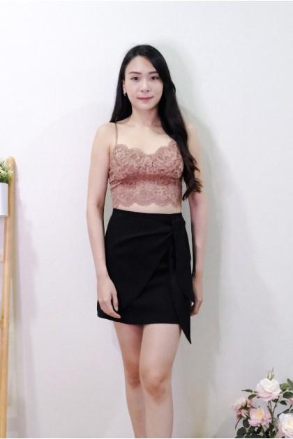 Chixxie Liliana Ribbon Short Skirt in Black