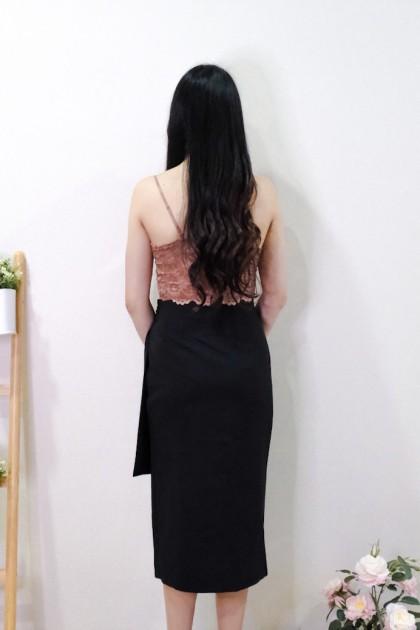 Chixxie Alexis Slit Midi Skirt in Black