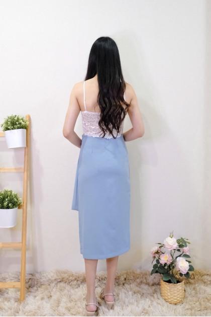 Chixxie Alexis Slit Midi Skirt in Blue