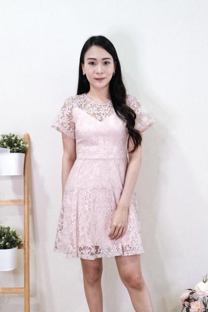 Chixxie Kimberly Lace Dress in Pink