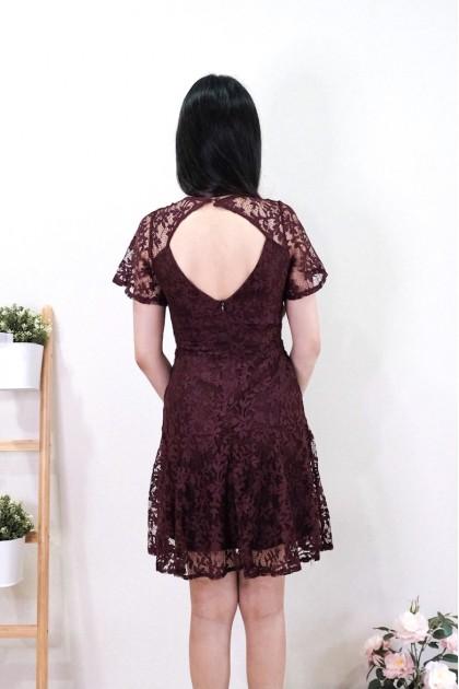 Chixxie Kimberly Lace Dress in Sangria