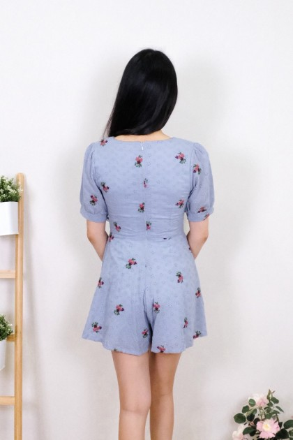 Chixxie Daisy Lace playsuit in Blue