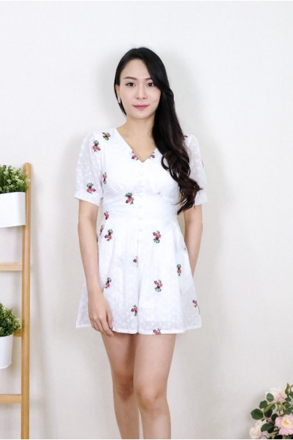Chixxie Daisy Lace Playsuit in White