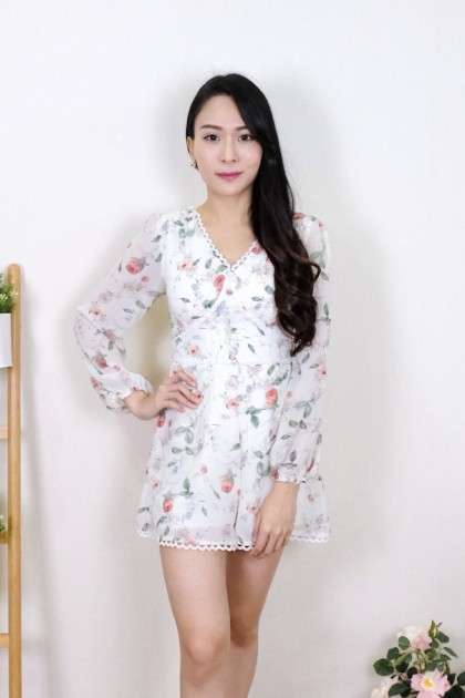 Chixxie Gracie Floral Playsuit in White