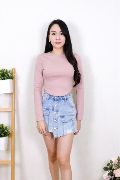 Chixxie Elsie Long Sleeve Crop Top in Pink