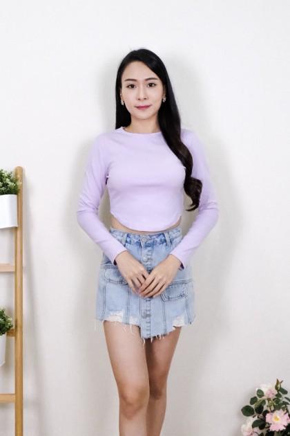Chixxie Elsie Long Sleeve Crop Top in Lilac