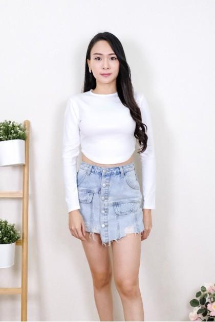 Chixxie Elsie Long Sleeve Crop Top in White