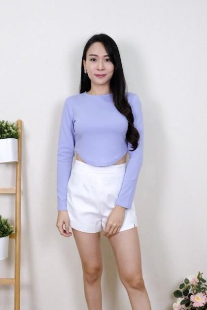 Chixxie Elsie Long Sleeve Crop Top in Purple