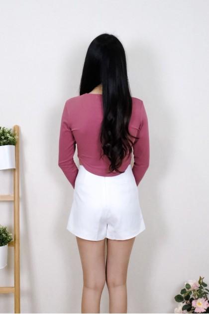 Chixxie Elsie Long Sleeve Crop Top in Dark Pink