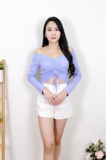 Chixxie Kyla Long Sleeve Off-Shoulder Crop Top in Purple