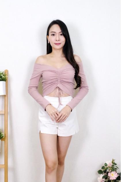 Chixxie Kyla Long Sleeve Off-Shoulder Crop Top in Pink