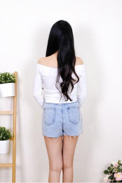 Chixxie Kyla Long Sleeve Off-Shoulder Crop Top in White