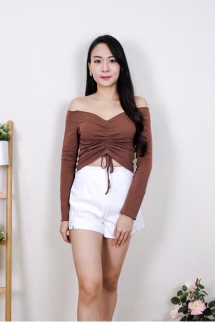 Chixxie Kyla Long Sleeve Off-Shoulder Crop Top in Brown