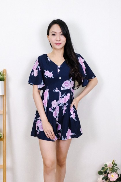 Chixxie Nicole Floral Playsuit in Navy