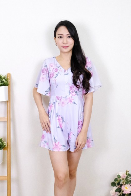 Chixxie Nicole Floral Playsuit in Lilac