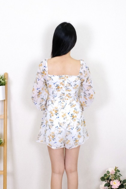 Chixxie Andrea Floral Playsuit in White