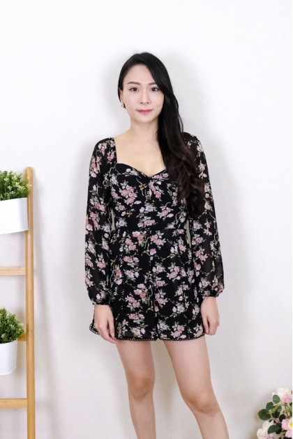 Chixxie Andrea Floral Playsuit in Black